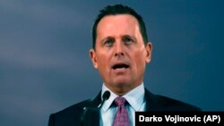 Ambassador Richard Grenell speaks during a press conference after a meeting with the Serbian president in Belgrade on January 24.