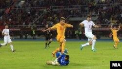 Меч меѓу репрезентациите на Македонија и Србија на Арената Филип Втори во Скопје.