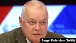 Russian state media boss Dmitry Kiselyov is on the EU sanctions list for his role in promoting Kremlin propaganda in support of Russia's 2014 annexation of Crimea from Ukraine.