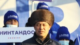 Sadyr Japarov, Kyrgyz acting Prime Minister and leading presidential candidate, attends an election rally in Tokmok, December 30, 2020.