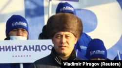 Gyrgyzystanyň prezidenti wezipesine dalaşgär Sadyr Japarow. Tokmok, 30-njy dekabr, 2020