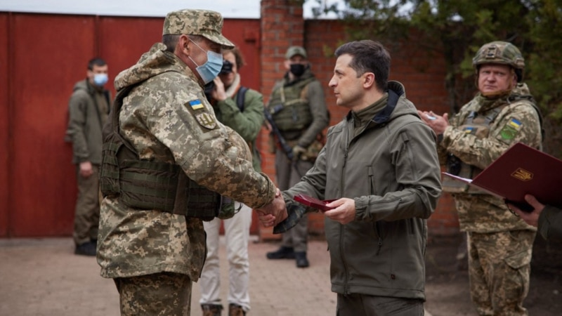 Ukrainian President Visits Eastern Front As Tensions With Russia Rise