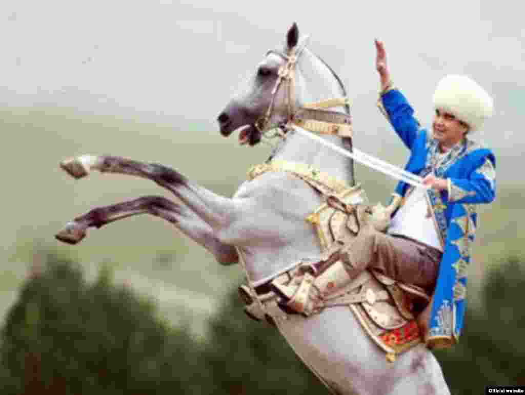 No Turkmen presidency is complete without a photo on a horse. Here, Berdymukhammedov is picturedastride a white Akhal-teke stallion. Otherequestrian portraits up the ante by adding awhite dove landing on the president's shoulder.