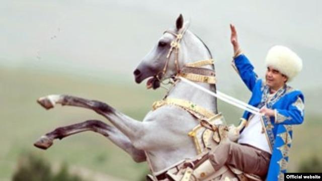 Turkmen President Gurbanguly Berdymukhammedov on an Akhal-teke horse