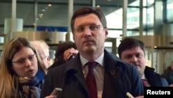 Ресей энергетика министрі Александр Новак Украинамен газ келіссөзі қарсаңында. Брюссель, 2 наурыз 2015 жыл.