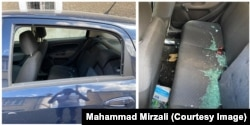 Mirzali's car after a back window was smashed on June 1.