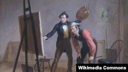 """Уільям Сыднэй Маўнт, """"Трыюмф мастака"""" (1838). Фрагмэнт карціны."""