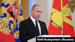 Presidenti rus, Vladimir Putin, gjatë ceremonisë së ditës së sotme në Moskë, Rusi