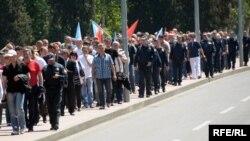 Sa jednog od ranijih protesta u Crnoj Gori povodom 1. maja, foto: Savo Prelević