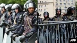 Сотрудники полицейского спецназа в Казахстане (слева) и России, стянутые на место протестов.