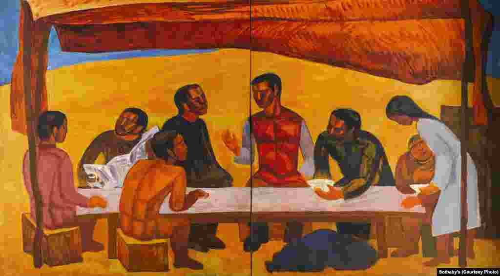 """On Virgin Soil, Lunchtime,"" by Kazakh avant-garde artist Salikhitdin Aitbaev (1938-1994), from the late 1960s or early '70s. The emergence of national identity was first seen in Kazakh art in the 1960s, led by artists like Aitbaev."