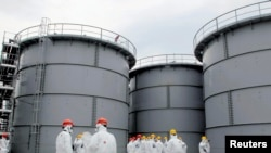 Tanks hold radiation-contaminated water at Tepco's crippled Fukushima nuclear plant (file photo)