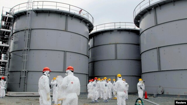 Tanks of contaminated water at the Fukushima nuclear power plant in March