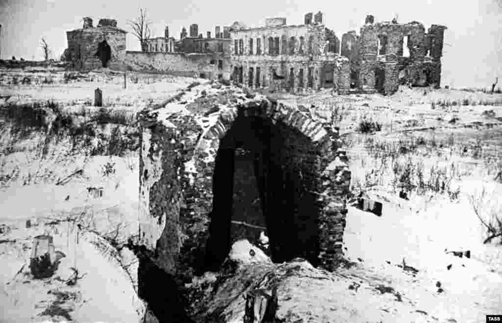 Leningrad's Pulkovo Observatory is seen in ruins in January 1944, near the end of the siege that lasted for two years and five months.