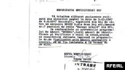 Document Strict Secret al Securității din România în care se face referire la Radio Europa Liberă, mai 1987.