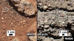 مقارنة بين حصى الأرض ومثيله على المريخ