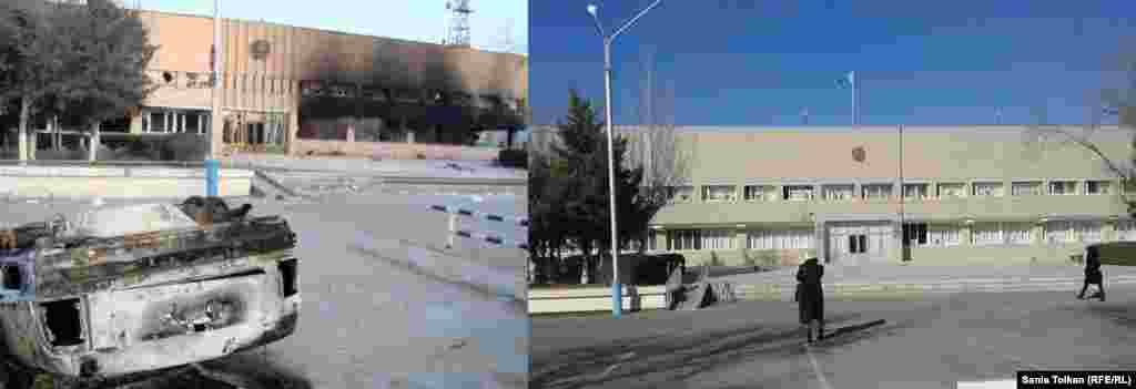 The mayor's office was another casualty of the riots. On the right, the building as it appears today.