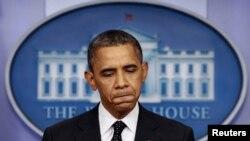 Претседателот на САД Барак Обама на прес конференција во Белата куќа.
