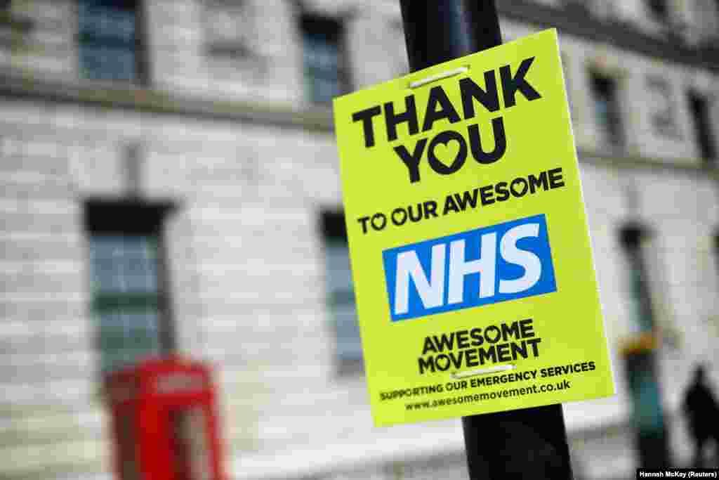 Табличка зі словами подяки медичним працівникам. Вестмінстер, Лондон