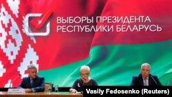 Članovi Centralne izborne komisije Belorusije tokom objave preliminarnih rezultata predsedničkih izbora, 10. avgust 2020.