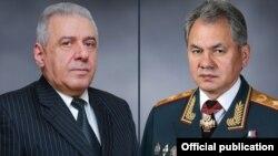 Министр обороны Армении Вагаршак Арутюнян (слева) и министр обороны России Сергей Шойгу