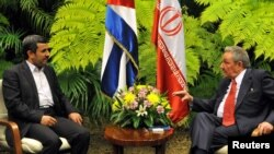 The Iranian vice president's visit comes five months after a visit, pictured here, by Iranian President Mahmud Ahmadinejad (left) in which he met with President Raul Castro in Havana.