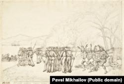 Маори исполняют «хака» — танец в знак приветствия или в знак войны, когда русские прибывают в рыбацкий поселок в Новой Зеландии. Середина 1820 года.