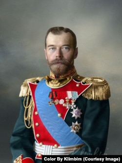 "Tsar Nicholas II in full royal finery. Shirnina says it takes her around one full day to colorize a photo, though she'll usually wait another day before publishing in order to see things with ""a fresh eye."""