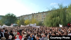 Derbent residents took to the streets in protest in October.