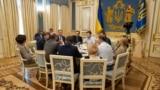 Ukrainian President Volodymyr Zelensky meets with the leadership of the Verkhovna Rada and parliamentary factions on May 21