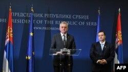 Tomislav Nikolić i Ivica način nakon razgovora sa Ketrin Ešton 14. marta 2013.