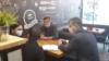 Манап, Артур Цветков и сотрудники Посольства Кыргызстана в России.