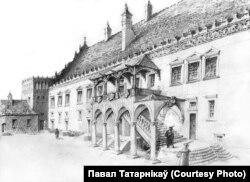 Выгляд палаца з боку двара, рэканструкцыя Паўла Татарнікава
