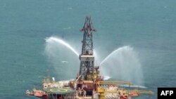 An Iranian oil rig in the Caspian Sea. Iran is a major oil exporter, but sanctions have taken a toll on the industry.