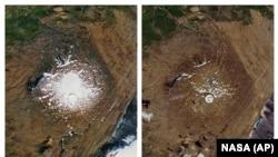 Ghețarul Okjokull, din Islanda, primul care s-a topit ca urmare a schimbărilor climaterice. Poze NASA din septembire1986 și august 2019.
