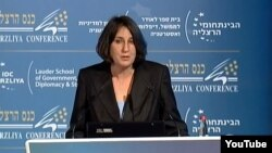 Brenda Shaffer speaks at the Hezliya Conference in 2011. She did not respond to numerous requests to comment for this report.