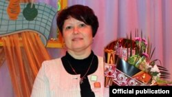 Алена Масьлюкова падчас уручэньня ўзнагароды «Настаўнік году», люты 2014-га