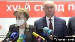 Președinta Parlamentului Zinaida Greceanîi și noul lider al PSRM, Igor Dodon, Chișinău, 30 decembrie 2020