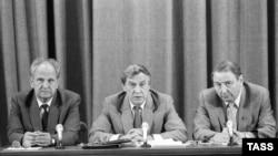 ГКЧП-н декъашхой Советан пачхьалкхан чоьхьарчу министр Пуго Борис а (аьр-аьттоагIорхьа), вице-президент Янаев Геннадий а, пачхьалкх ларйон кхеташонан гIаьнтден хьалхара когаметта Бакланов Олег а зорбан конференци луш бу Москох, 19Марс1991