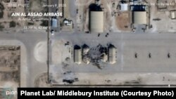 Satellite photo provided by Planet Lab/ Middlebury Institute shows Ain Al Assad Airbase which was hit by IRGC's missile strike on the midnight of January 8, 2019.