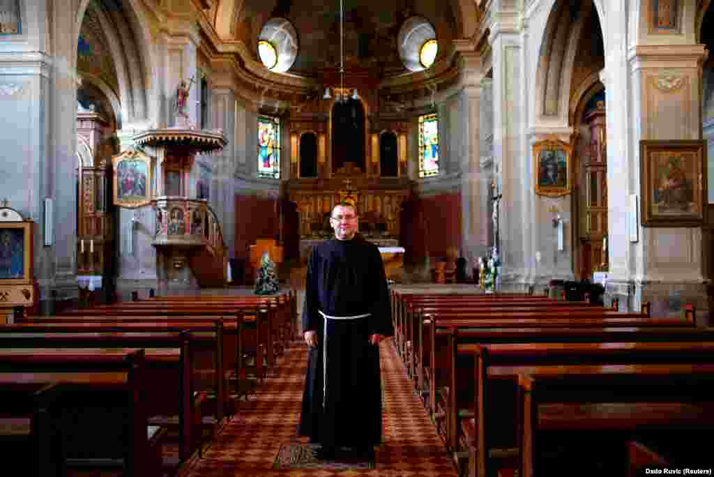 "Friar Zeljko Brkic inside Kraljeva Sutjeska Franciscan monastery in Kraljeva Sutjeska. ""Bosnia can only survive as a multi-ethnic state, no matter how much politicians try to convince us that this is not possible,"" Brkic says."
