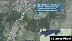 Место на карте, где, предположительно, находится поезд