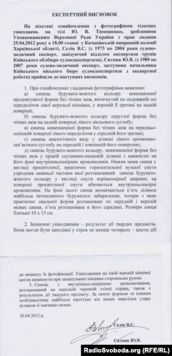 Експертний висновок по Тимошенко