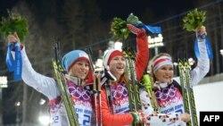 Тирил Экхофф, Дарья Домрачева и Габриэла Соукалова - призеры масс-старта в Сочи