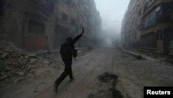 تصویر یکی از شورشیان سوریه در نبردهای حومه دمشق