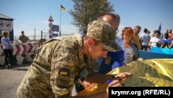 Акція & laquo; Об'єднані прапором & raquo; на адмінкордоні з Кримом. Херсонська область, КПВВ & laquo; Чонгар & raquo;, серпень 2018 року