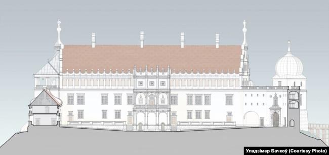 Выгляд каралеўскага палаца з боку двара пасьля рэканструкцыі, варыянт Уладзімера Бачкова
