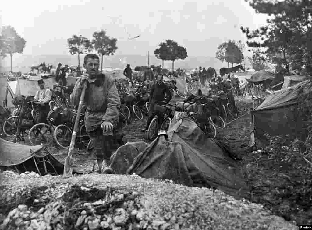 French cyclists of the Cavalry Corps on the Champagne front, eastern France September 22, 1915.