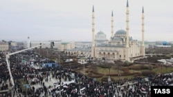 По заявлению чеченской власти, не менее миллиона человек собрались в центре города. Несмотря на мороз, мероприятие продолжалось три часа