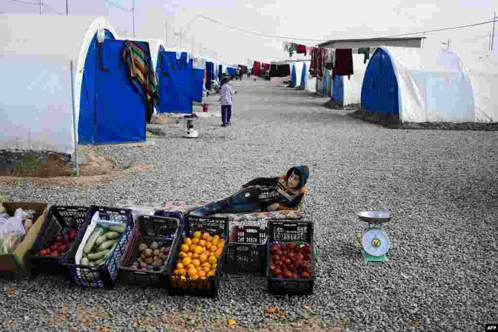 A young vegetable vendor rests at the Khazer refugee camp for people who fled the violence in the Islamic State (IS) stronghold of Mosul, Iraq. (AFP/Dimitar Dilkoff)